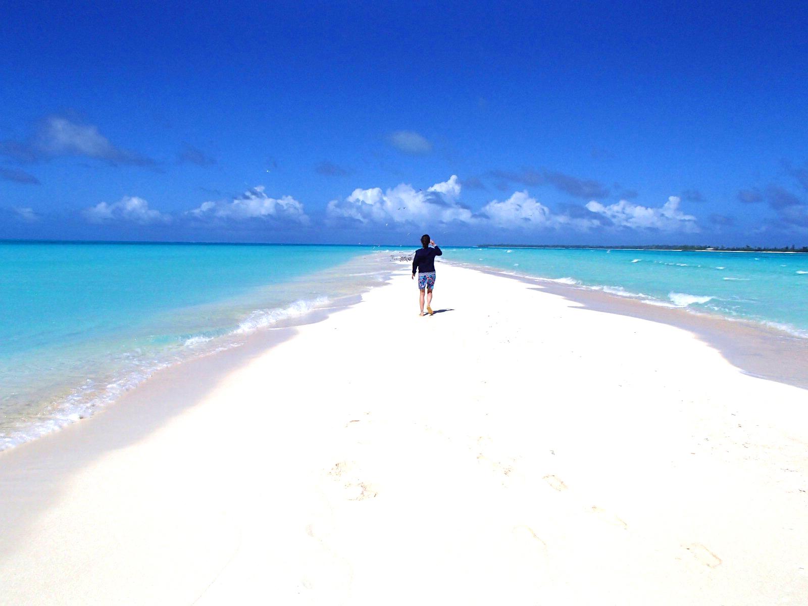 白い一本道の砂浜を歩く人